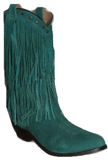 """Wisteria"" Womens Teal Double Fringe Cowboy Boots, double Fringe Cowboy Boots, Women Fringe Cowboy Boots,Womens Snip toe cowboy boots"
