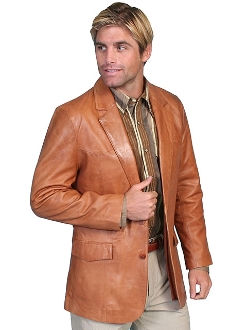 "Mens ""Ranch Tan"" leather Western blazer by Scully, mens leather coats, western coats for men, western blazers for men, cowboy jacket, cowboy coats, cowboy blazers, western jackets for men"