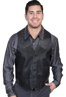 Mens Scully Black lambskin leather Ostrich Western Vest