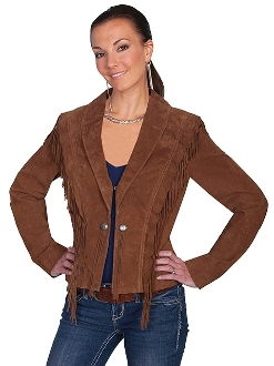 Scully Womens Bolero Brown Fringe Western Jacket
