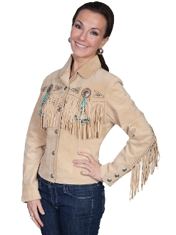 "This Ladies"" Fawn"" Tan boar suede western jacket by Scully has beads, studs, and conchos, this western jacket has style. Made from boar suede with fringe on the front, back and closes with a 5-button front"