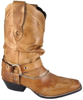 """Avalon"" Womens Bomber Tan slouch Square Toe Cowboy Boots"