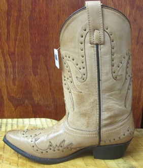 """Donna"" Womens Snip Toe Bomber Tan Cowboy Boots"