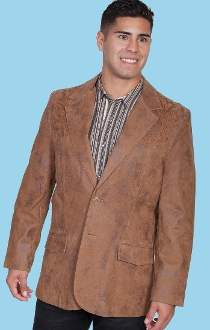 Mens Scully Boot Stitch Maple Leather Western Blazer, Mens Scully Boot Stitch Leather Western Blazer, mens leather coats, western coats for men, western blazers for men, cowboy jacket, cowboy coats, cowboy blazers,