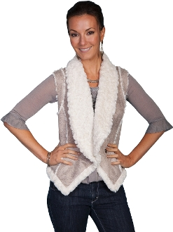 Womens Scully Faux Sherling Sand Fur Vest, suede western vest, western ladies vest, suede scully vest for ladies, womens western vest, scully vest