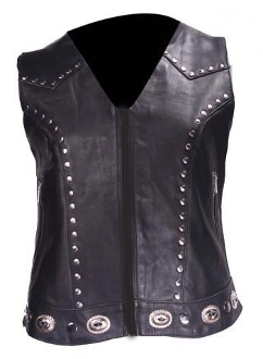 Womens Concealed Carry Black Leather Western Concho Vest