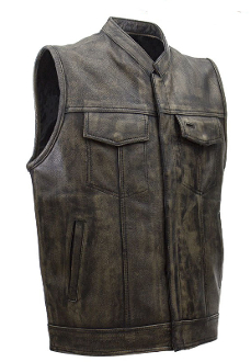 Mens Distressed Brown Leather Concealed Carry Vest , Mens Concealed Carry Western Vest, Canvas Concealed Carry Western Vest, gun carry vest, concealed Carry Western Vest, canvas western vest, mens western vest, western vest for men