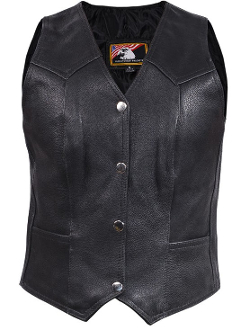Womens Black Leather Traditional Western Vest