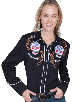 """Day of the Dead"" Womens Scully Black Embroidered Western Shirt, Day of the Dead Womens Scully womens Cream Western Shirt, Scully womens colorful western shirt,"