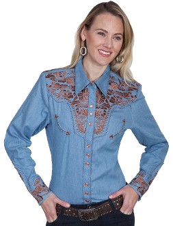 "Scully ""Lady Gunfighter"" Mint pipe western shirt, butterfly shirt, butterfly western shirt, womens western shirt, western shirt for women, womens western wear, womens scully shirt, scully womens shirt"