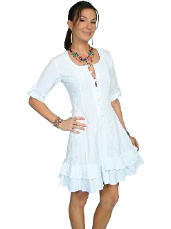 Scully Womens Peruvian Cotton 3/4 Sleeve White Short Dress, Scully Womens Peruvian Cotton Spagetti Strap Dress , womens western skirt, womens western skirt, ladies skirts for western dance, long western skirts