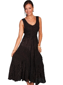 Scully Womens Full Length Black Western Flowing Dress, Scully Womens western Dress , womens western dress, full length western dress