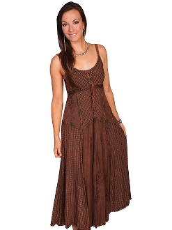 Womens Full Length Copper Two-Toned Western Spaghetti Dress, Scully Womens Full Length Mult Fabric Western Spaghetti Dress, womens western dress, full length western dress