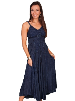 Womens Full Length Blue Two-Toned Western Spaghetti Dress, Scully Womens Full Length Mult Fabric Western Spaghetti Dress, womens western dress, full length western dress