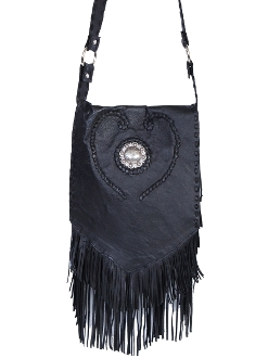 Braided Heart Black Leather Whip-stich Western Fringe Purse