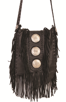 Black Leather 3 Concho Whip-stich Western Fringe Purse