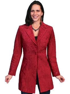 womens Scully Sequence Burgundy suede long western coat
