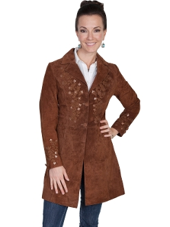 Womens Scully Sequence Cinnamon boar suede long western coat, Womens Scully Sequence suede long western coat
