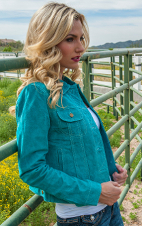 Ladies Waist length Turquoise suede western jacket by Scully