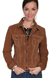 Scully Womens Cafe Brown Suede Jean Jacket, Scully Womens Suede Jean Jacket, Ladies Waist length suede western jacket by Scully