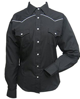 Womens Ely White Piped Black Western Shirt