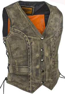 This Womens Concealed Carry Distressed Brown Leather Studded Vest is made of top grain soft tough leather equipped with gun pockets. Women can carry their gun with style without printing for total concealment.
