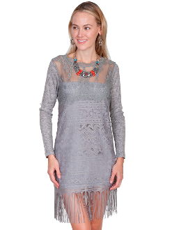 Scully Womens Grey Honey Creek Western Lace Dress, Scully Womens Western Flowing Dress, Scully Womens lace Dress, Scully Womens western Dress , womens western dress, wedding lace dress for women