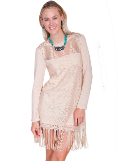 Scully Womens Natural Honey Creek Western Lace Dress, Scully Womens Western Flowing Dress, Scully Womens lace Dress, Scully Womens western Dress , womens western dress, wedding lace dress for women