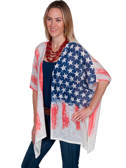 Scully USA American Flag Patriotic Flag Cardigan Sweater