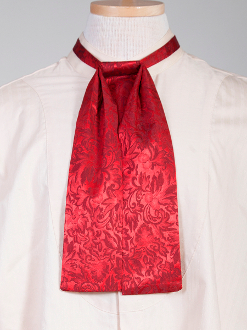Usa Made Scully Red Jacquard Silk Puff Tie