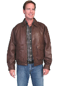 """Danny"" Mens Scully Rugged Brown Lambskin Jacket"