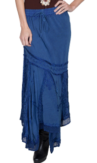 Scully Womens Blue Rayon Full Length Western Flair Skirt