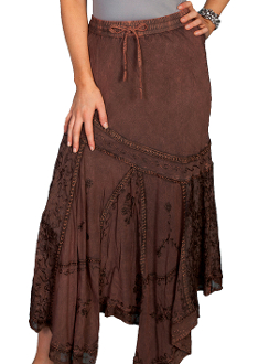 Scully Womens Copper Rayon Full Length Western Flair Skirt