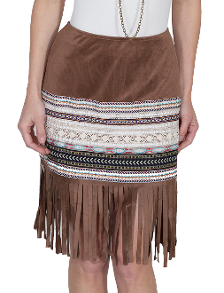 Scully Womens 70's Style Tan Fringe Western Skirt