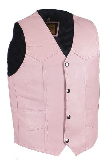 Girls Pink Leather Kids Western Vest, Child leather western vest