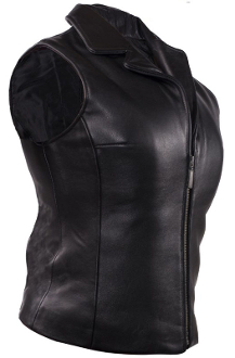 Smooth zippered front, Black leather western vest
