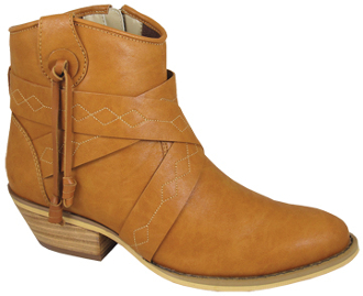 """Molly"" Womens Short Shaft Zipper Tan Fashion Cowboy Boots"
