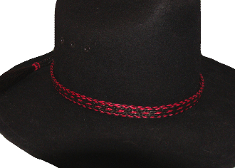 "cowboy hat bands, USA MADE 1/2"" Black & Hot Pink 3 Strand Horse Hair Hat Band"