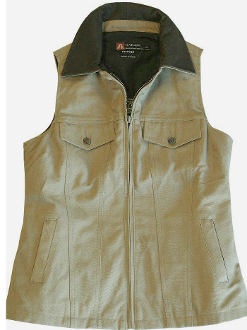 "This ""Thelma"" Taupe Canvas Womens Concealed Carry Western Vest is a perfect ccw vest. The western style of this ladies ccw vest is packed with room for your hand guns without printing."