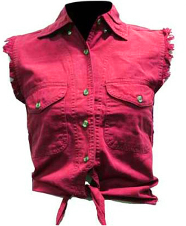 Ladies Red Tie Front Denim Daisy Duke Shirt