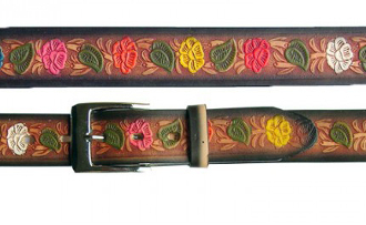 Adult Brown Black Edged Flower Print Leather Western Belt, Adult Tooled Leather Brown Western Belt, leather western belt, mens brown western belt, brown leather western belt