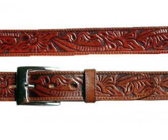Adult Tooled Leather Brown Western Belt, leather western belt, mens brown western belt, brown leather western belt