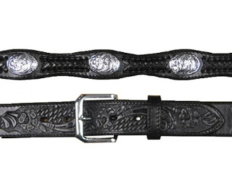 Adult Silver Concho Black Leather Western Belt, Adult Silver Concho Brown Leather Western Belt, Adult Bucking Bronco Silver Concho Leather Western Belt, Adult Tooled Leather Brown Western Belt,