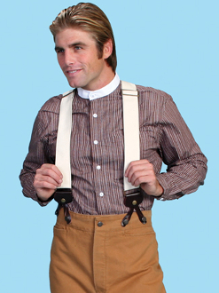 "Our sturdy Scully Wahmaker Natural USA made Y Back Suspenders 2"" wide canvas suspenders. Old west made in the usa Y back suspenders with elastic back and leather ends."