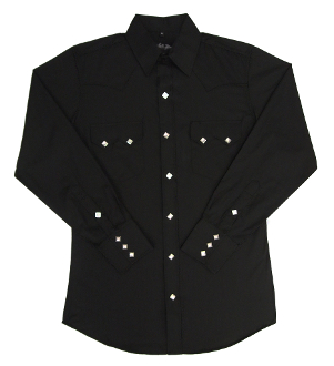 Mens Pearl Snap Sawtooth Pocket Black Western Shirt