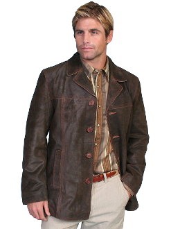 This Scully Mens 3/4 Length Brown Calf Leather Suede Western Car Coat is calf suede with a vintage vibe.