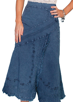 This Scully Womens Blue Peruvian Cotton Full Length Western Skirt is a big hit at a western dance. The ladies cowboy skirt is.100% peruvian cotton with an elastic back.