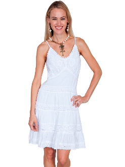 This Womens Short White Western Spaghetti Dress is 100% Peruvian cotton with spaghetti straps.This ladies cowgirl dancing dress features a crochet overlay on the bodice with crochet edging.