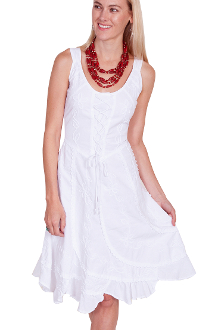 This Womens Lace up Front White Western Dress is Sleeveless and 100% peruvian cotton. This cowgirl dress has a Lace tie front with swirled panels with a Lace tie back and soutache design on front and back