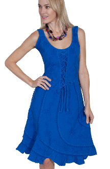 This Womens Lace up Front Blue Western Dress is Sleeveless and 100% peruvian cotton. This cowgirl dress has a Lace tie front with swirled panels with a Lace tie back and soutache design on front and back